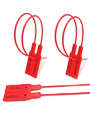 PLASTIC SECURITY TAGS NUMBERED PULL TIES SECURE ANTI-TAMPER SEALS (Package of 100) (RED)