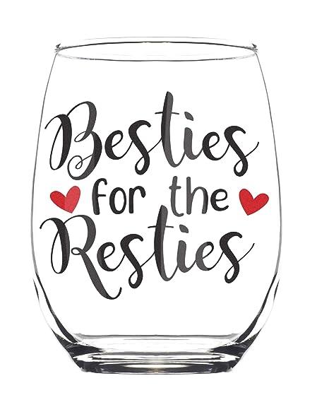 Amazon.com: Besties for the Resties Vaso de vino sin tallo ...