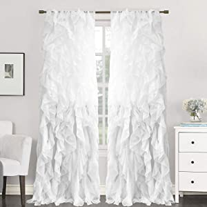 Sweet Home Collection 2 Pack Window Treatment Sheer Cascading Panel Vertical Ruffled Curtains in Many Sizes and Colors, 96