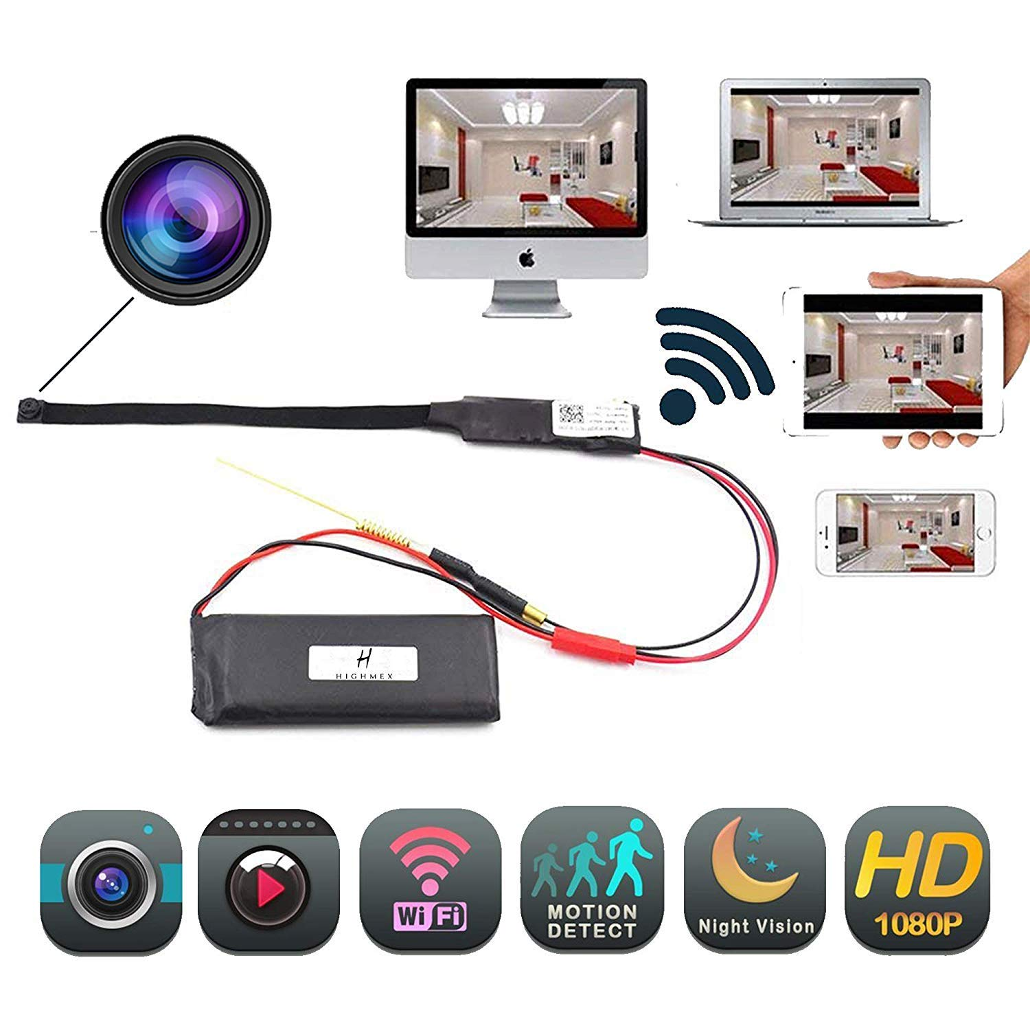 Hidden Camera 1080P HD Spy Nanny Cam Mini Small Wireless WiFi Security Camera Motion Detection Alarm Home Cameras Remote for iPhone/Android Phone/iPad/PC