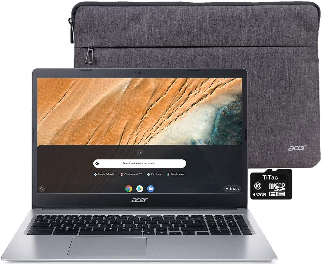"2021 Acer Chromebook 315 Laptop Computer 15.6"" HD Display Intel Celeron N4000 Processor(Up to 2.6GHz) 4GB RAM 32GB eMMC Webcam BT USB Type C Chrome OS + TiTac SD Card"