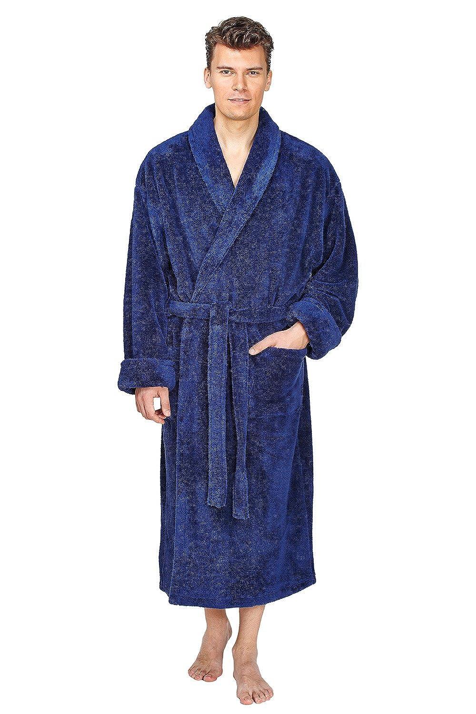 Arus Morbido Accappatoio di qualità da Uomo con Collett, Ampia vestibilità, Tessuto voluminoso 100% Microfibra, Traspirante
