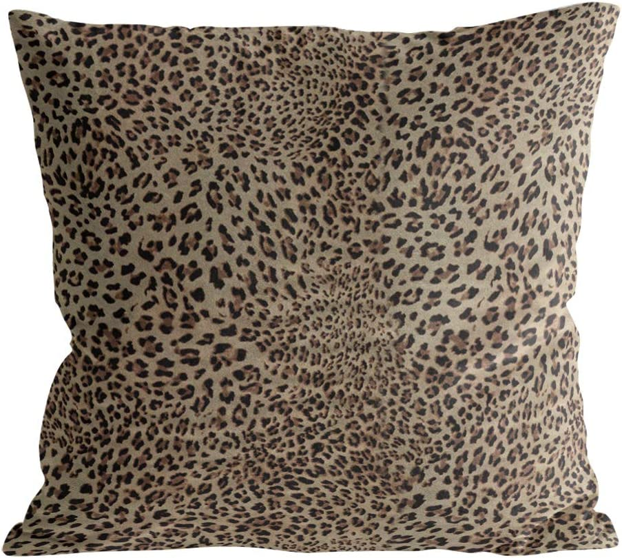 """Caffling Velvet Soft Decorative Square Throw Pillow Covers Euro Shams Cushion Cases Pillowcases for Sofa Couch Chair Bedroom Car Back Seat, 18"""" x 18"""" Sexy Leopard Print"""