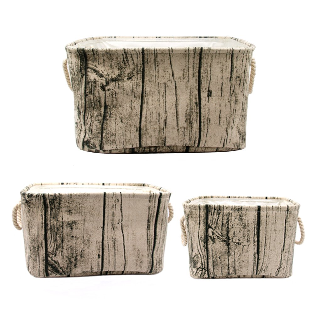 Jacone Stylish Tree Stump Design Rectangular Storage Baskets Cotton Fabric Washable Storage Bins Organizers with Rope Handles, Decorative and Convenient for Kids Rooms - Set of 3 by Jacone