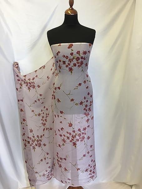 bad3805f72788 NEW 100% Pure Silk Crinkle Chiffon Floral Print Fabric 118cm Dress ...