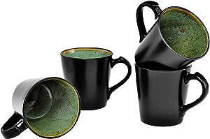 Culver VOG Ceramic Mug, 14-Ounce, Black Green, Set of 4