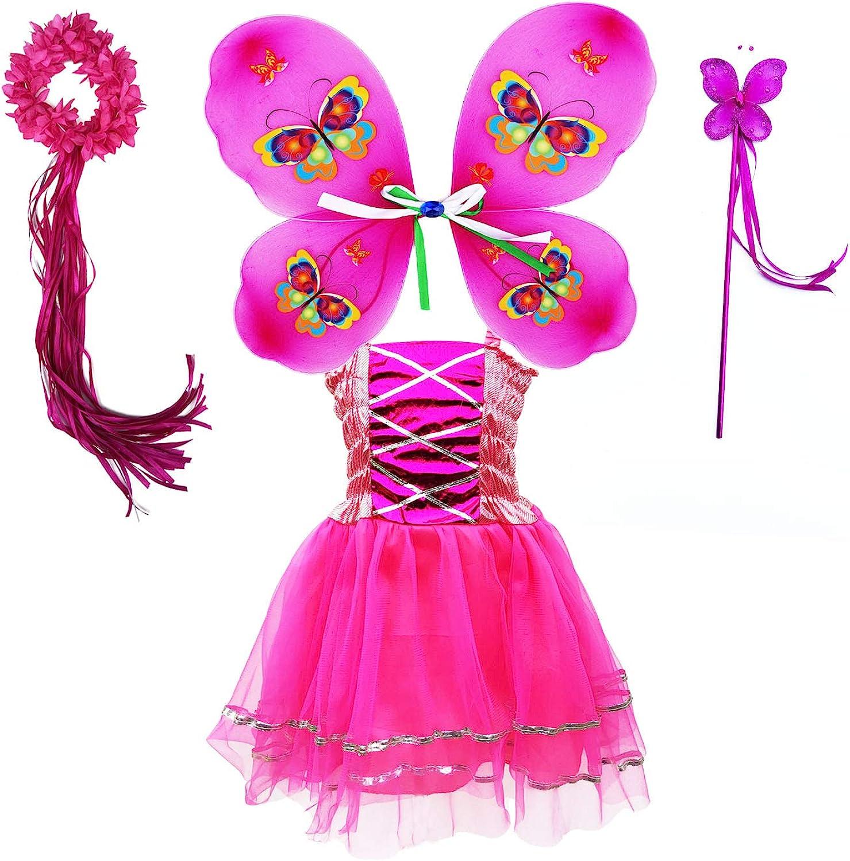 Tante Tina Disfraz de hada de mariposa para niña, 4 piezas, con vestido de tul, alas, varita mágica y diadema – adecuado para niños de 2 a 8 años