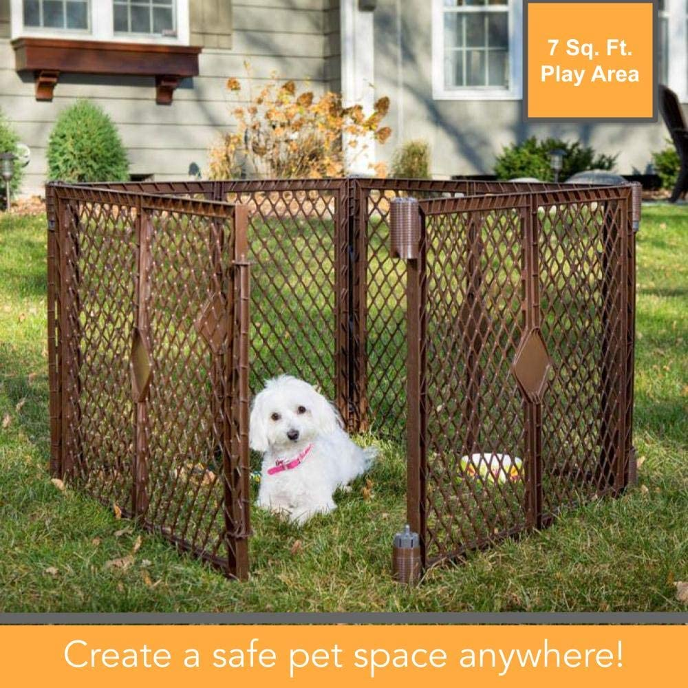 North States MyPet Stages Indoor Outdoor Petyard Weather resistant pet enclosure. Freestanding 26 tall