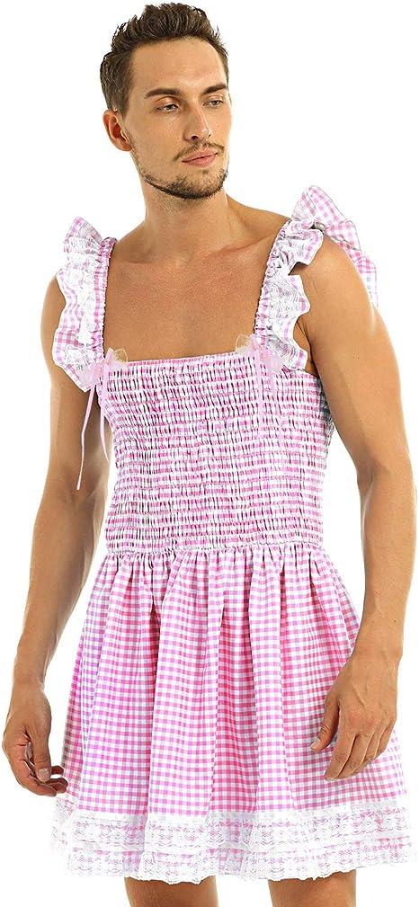 MSemis Vestido Criada Lencería Sissy para Hombre Gay Vestido ...