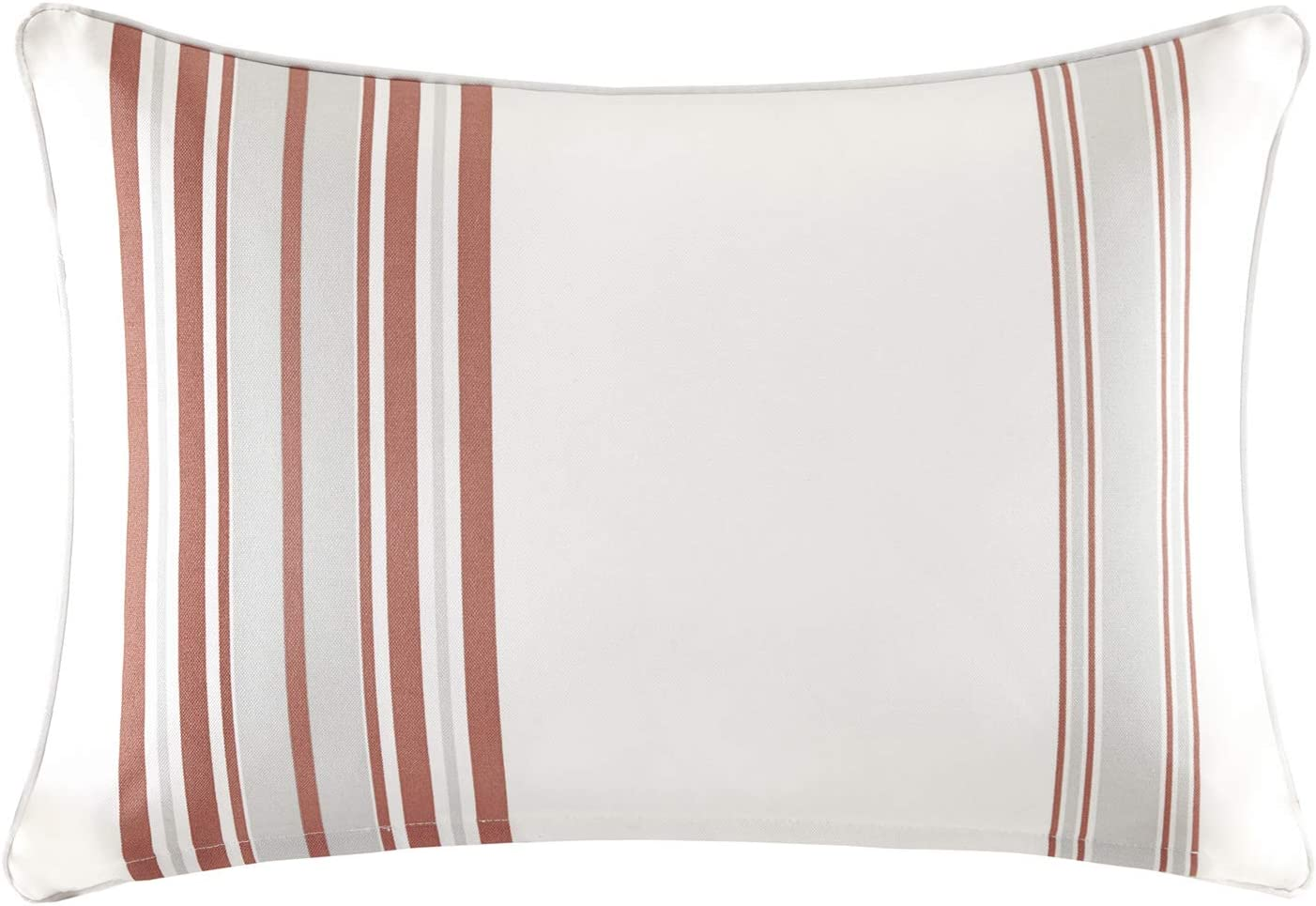 Madison Park Newport Pillow, 14x20, Coral/White