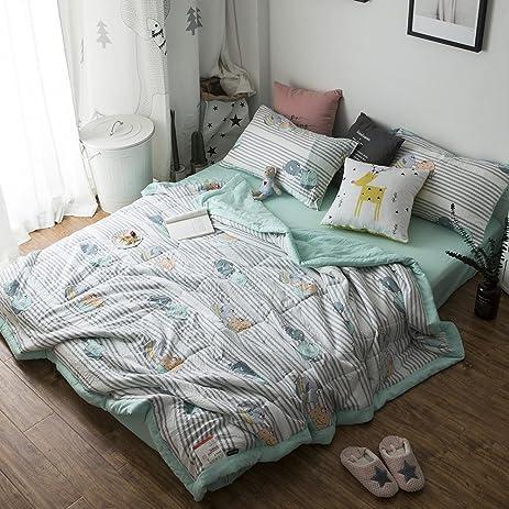 Amazon.com: mixinni Cartoon Thin Summer Comforter Quilted Air ... : thin quilt - Adamdwight.com