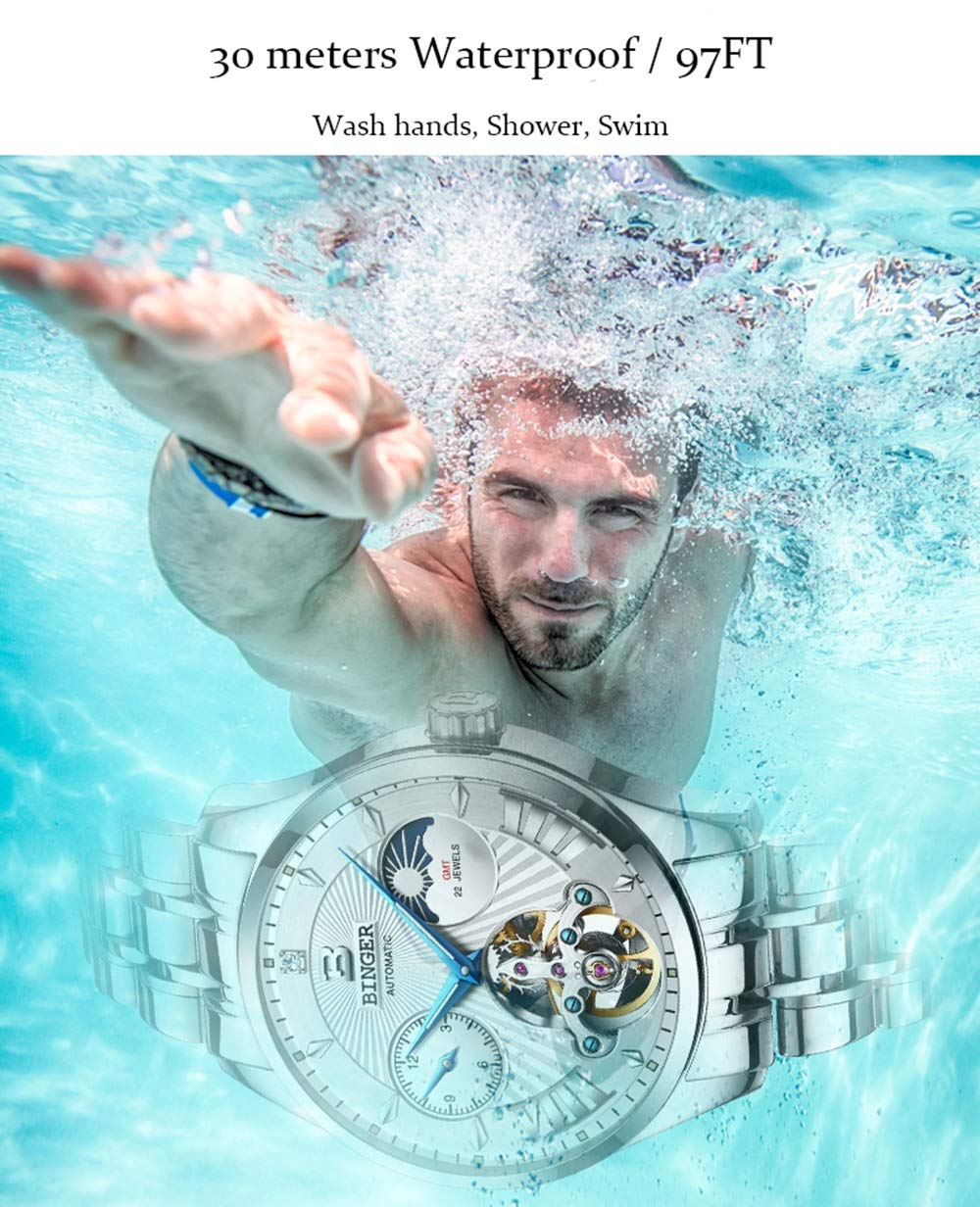 BINGER mäns automatiska mekaniska märke män klocka safir armbandsur colorA