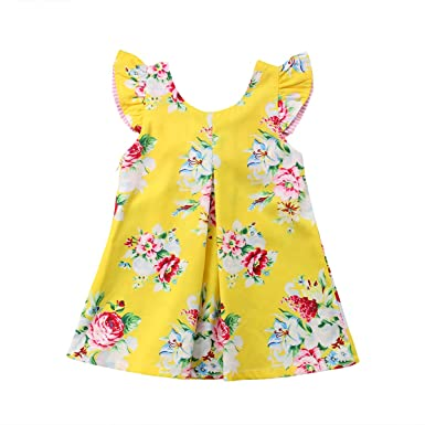 554a771ab3db Amazon.com  Toddler Newborn Kids Baby Girls Fly Sleeve Floral ...
