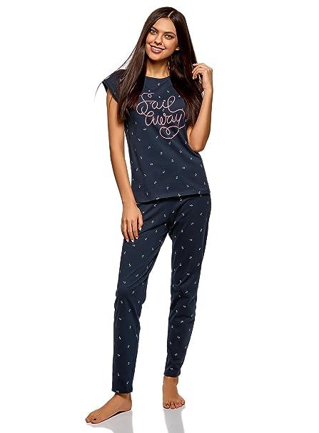 oodji Ultra Mujer Pijama de Algodón con Pantalones, Azul, ES 38 / S