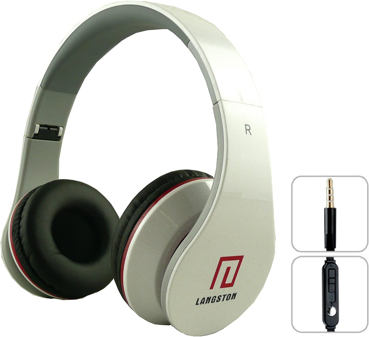 Langston ® Super Bass High Definition Sound Over Ear Foldable Headphones ( iM-12v ) in White With Microphone & Remote Suitable For BLU Vivo 5R White Super Bass iM-12v