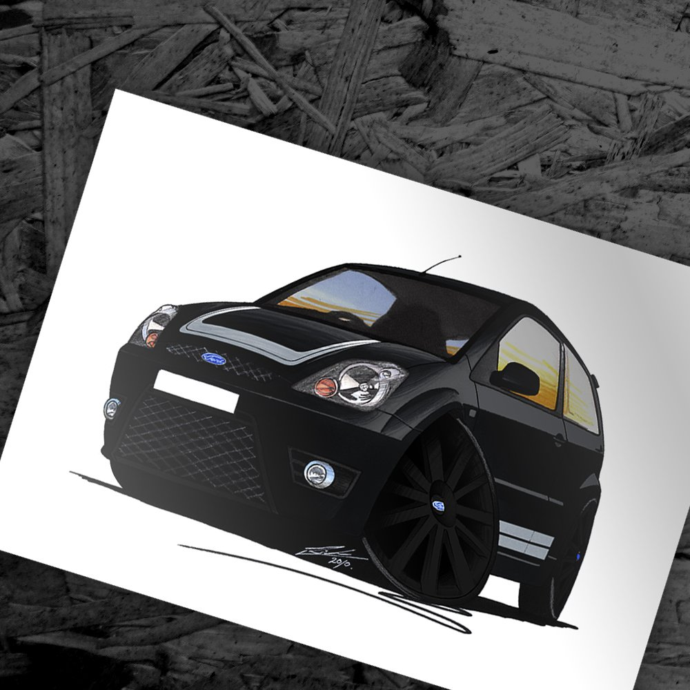 Ford Focus RS Caricature Car Art Print