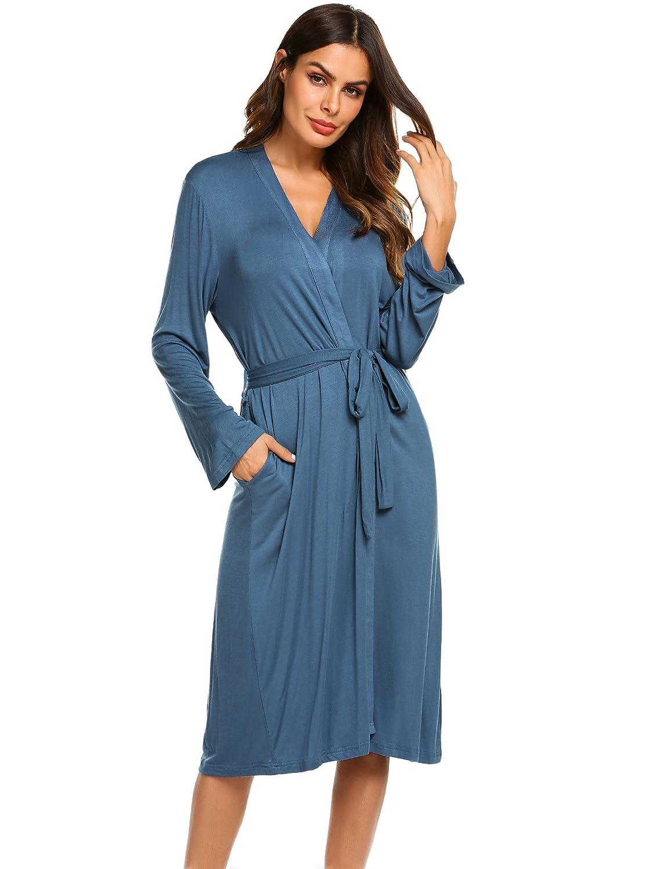 Ekouaer Robe,Women Waffle Kimono Bathrobe, Lounge Spa Bath Robes Hotel Long Sleepwear Loungewear EKV007123