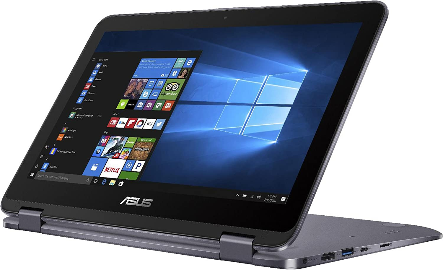 "ASUS Vivobook Flip 11.6"" HD 2-in-1 Convertible Touchscreen Laptop, Intel Celeron N3350 up to 2.4GHz, 4GB RAM, 500GB HDD, Finger Print Reader, ASUS Stylus Pen, 802.11ac, USB Type-C, Win 10"