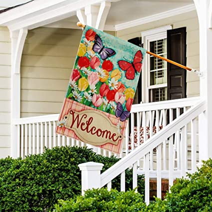 Amazon Com Dolopl Welcome House Flag 28x40 Inch Double Sided Decorative Verticle Tulips Daisy Colorful Flowers Butterflies Seasonal Yard House Flag For Spring Summer Outdoor Indoor Decoration Garden Outdoor