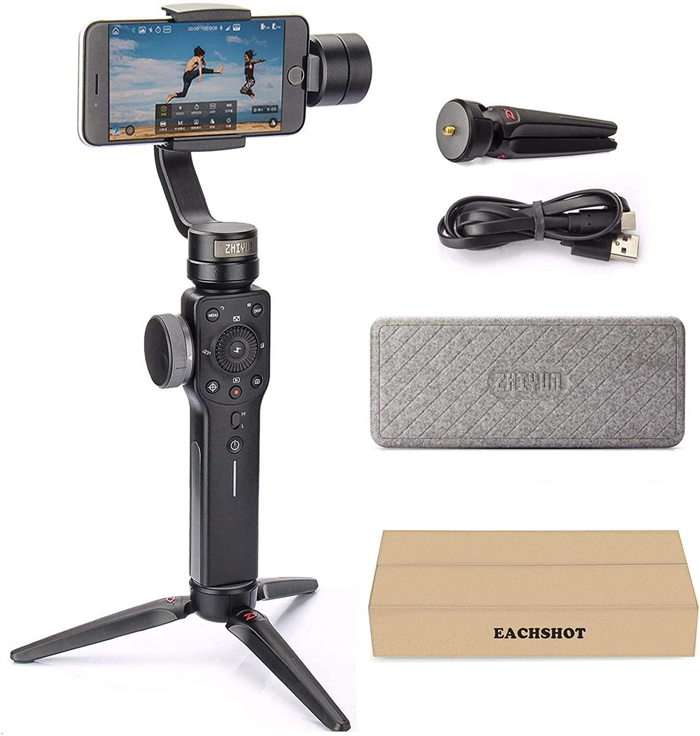 Zhiyun Smooth 4 3-Axis Handheld Gimbal Stabilizer YouTube Video Vlog Tripod for iPhone 11 Pro Xs Max Xr X 8 Plus 7 6 SE Android Cell Phone Smartphone : Camera & Photo