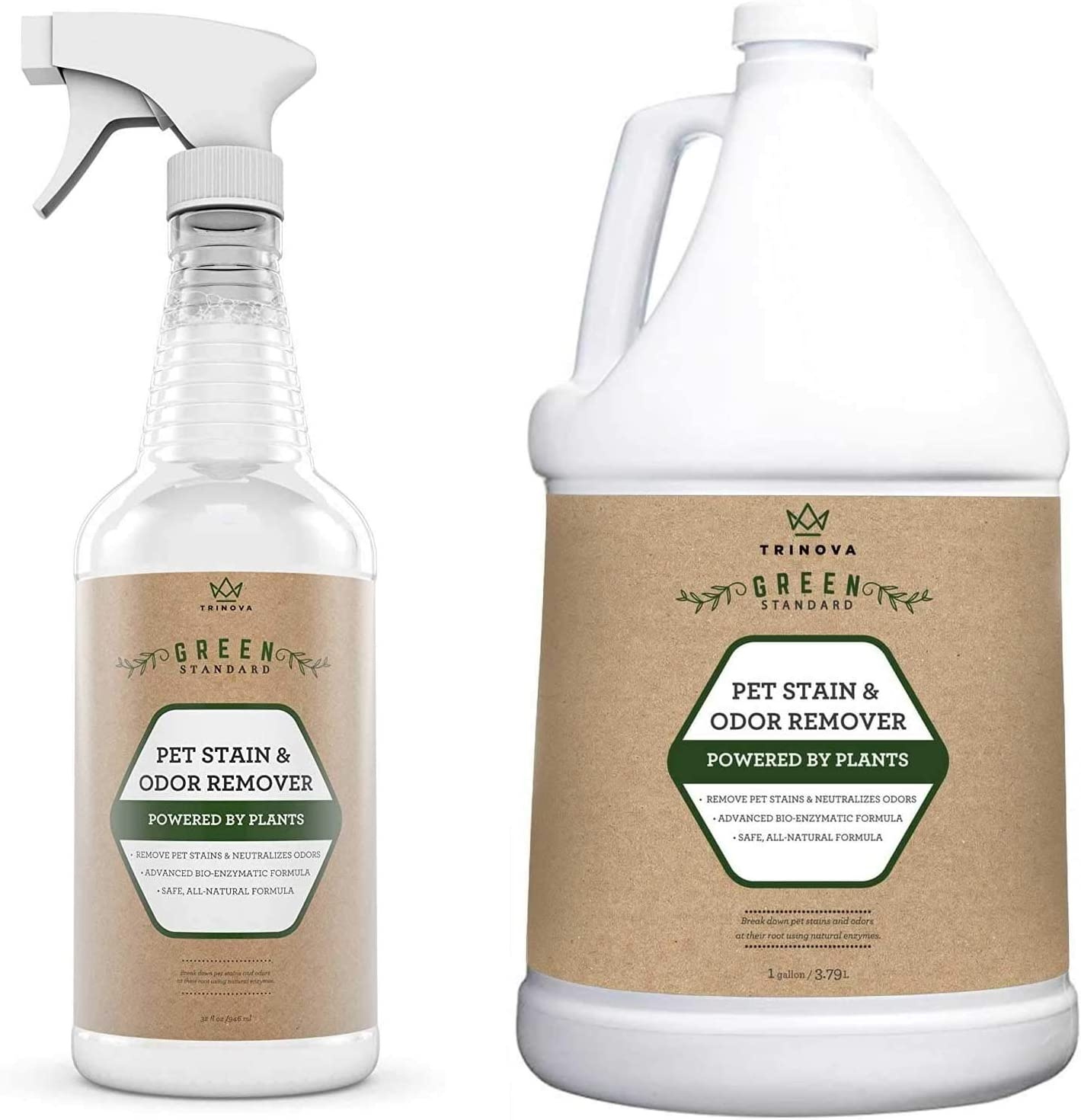 TriNova Natural Pet Stain & Odor Remover Eliminator - Advanced Enzyme Cleaner Spray - 32 oz and Gallon Refill Bundle