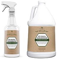 TriNova Natural Pet Stain & Odor Remover Eliminator - Advanced Enzyme Cleaner Spray - 32 oz and Gallon Refill Bundle