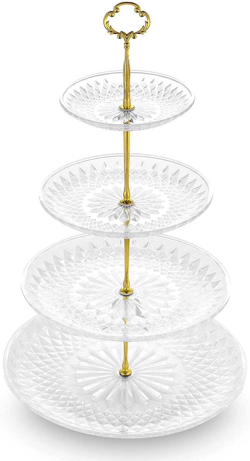 NWK 3/4-Tier Cupcake Stand with Crystal Clear Plates and Gold Metal Struts Dessert Tower Display Rack Serving Tray for Wedding Birthday Autumn Thanks Giving Baby Shower Party