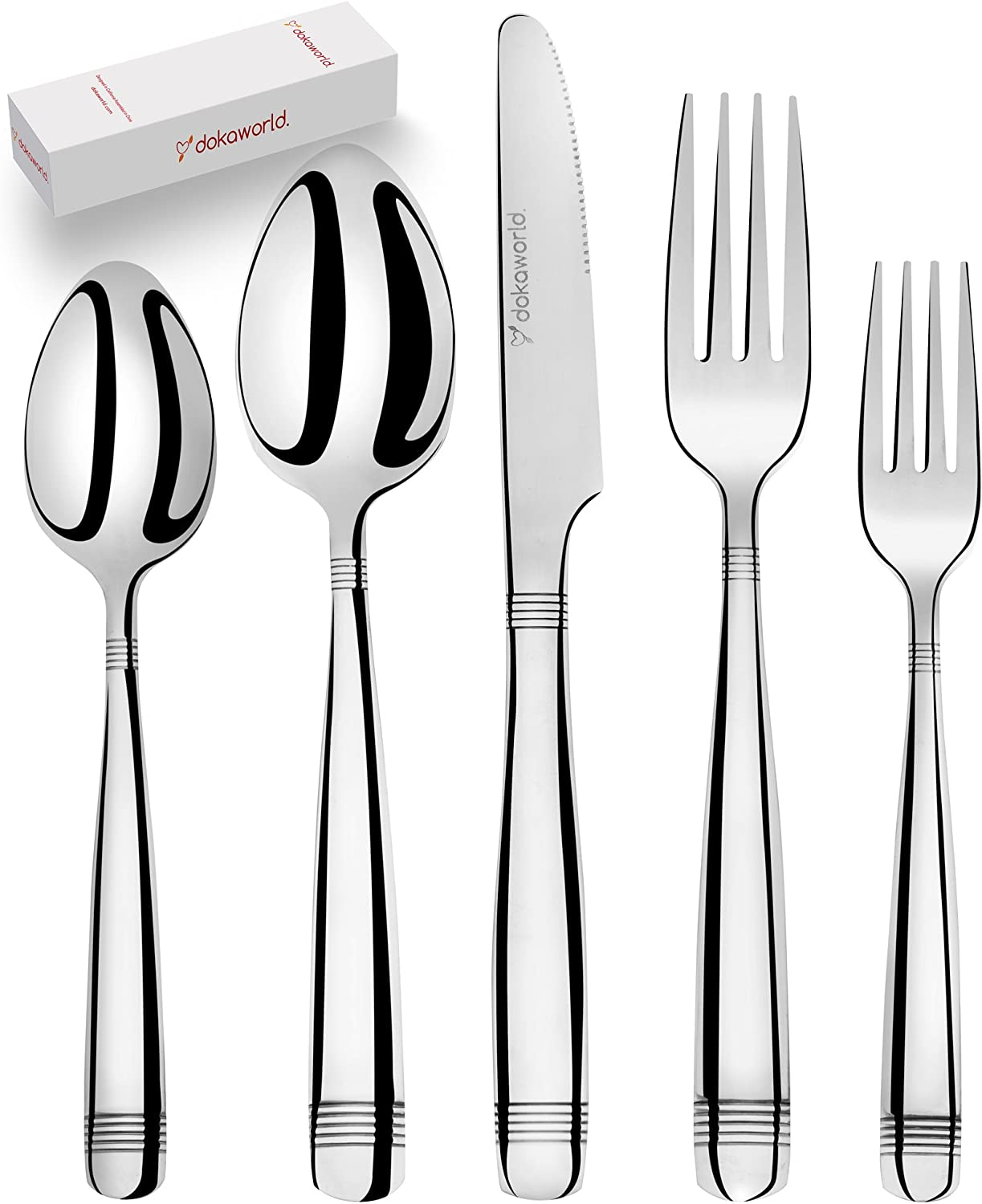 Silverware Set 18/10 Stainless Steel - Elegant Flatware Set of 40 Pieces - Eating Utensils for 8 People - Modern Cutlery Kit of Dinner Forks - Spoons Knives Dessert Forks and Spoons (A - Victoria)
