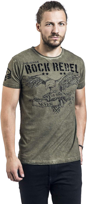 Rock Rebel by EMP Rebel Soul Hombre Camiseta Verde, Regular: Amazon.es: Ropa y accesorios