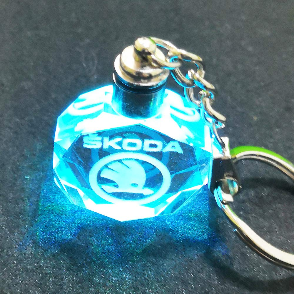 VILLSION Upgradetion LED Car Keyring Crystal Light Color Changing Logo Keychain Key Chain with Gift Box