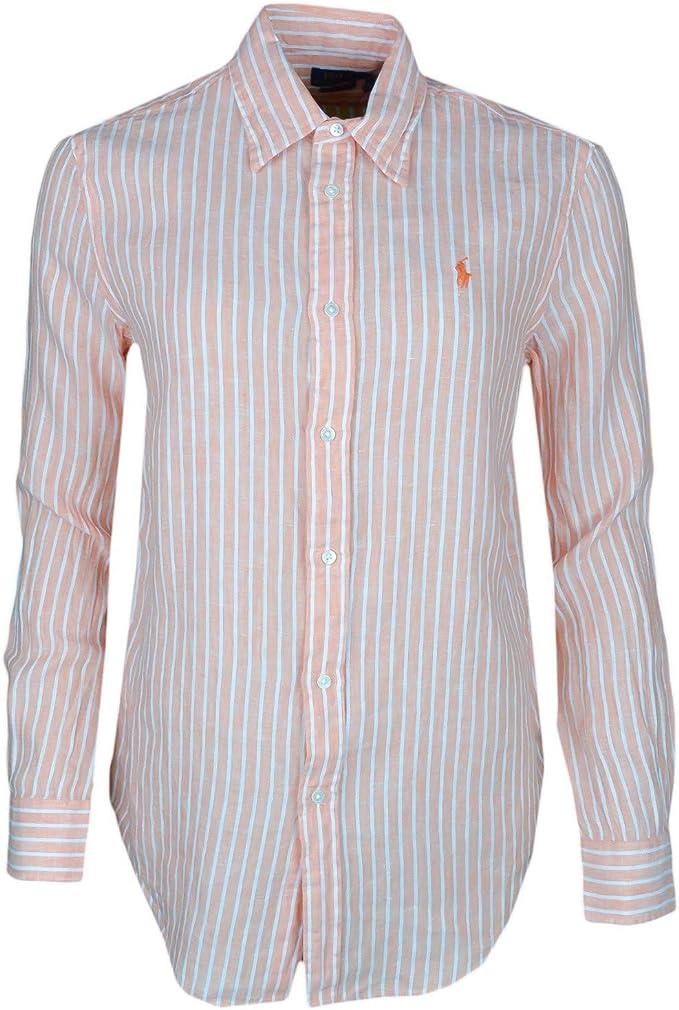 Ralph Lauren - Camisa para Mujer, diseño de Rayas, Color Naranja Naranja XS: Amazon.es: Ropa y accesorios