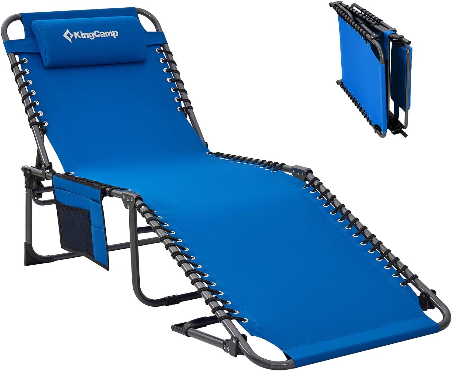 KingCamp 4-Fold Outdoor Folding Chaise Lounge Chair for Beach, Sunbathing, Patio, Pool, Lawn, Deck, Portable Lightweight Heavy-Duty Adjustable Camping Reclining Chair with Pillow, Blue