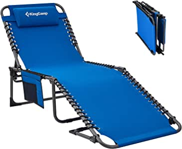 KingCamp Folding Outdoor Chaise Lounge Chair Cot Bed for Beach, Sunbathing, Patio, Pool, Lawn, Deck, Portable Lightweight Heavy-Duty Adjustable Camping 3-Fold Reclining Chair with Pillow, Blue