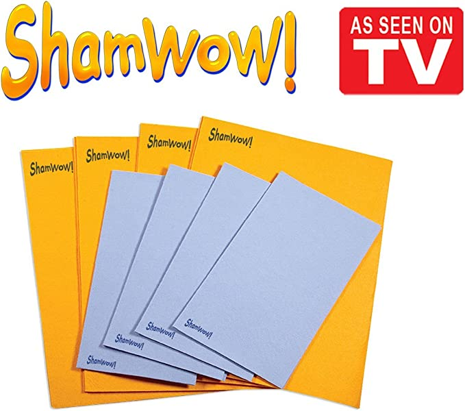 Amazon.com: The Original Shamwow - Super Absorbent Multi-purpose Cleaning  Shammy (Chamois) Towel Cloth, Machine Washable, Will Not Scratch (8 Pack: 4  Large Orange and 4 Small Blue): Kitchen & Dining