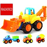 MAGNIFICO® Unbreakable Friction Powered Cars Push and Go (4 Pack), Construction Vehicles Toys for Toddlers Including Tractor, Bulldozer, Cement Mixer, Dump Truck, Car Truck Toys Play Set for 2 3 4 Years Old Boys Gift