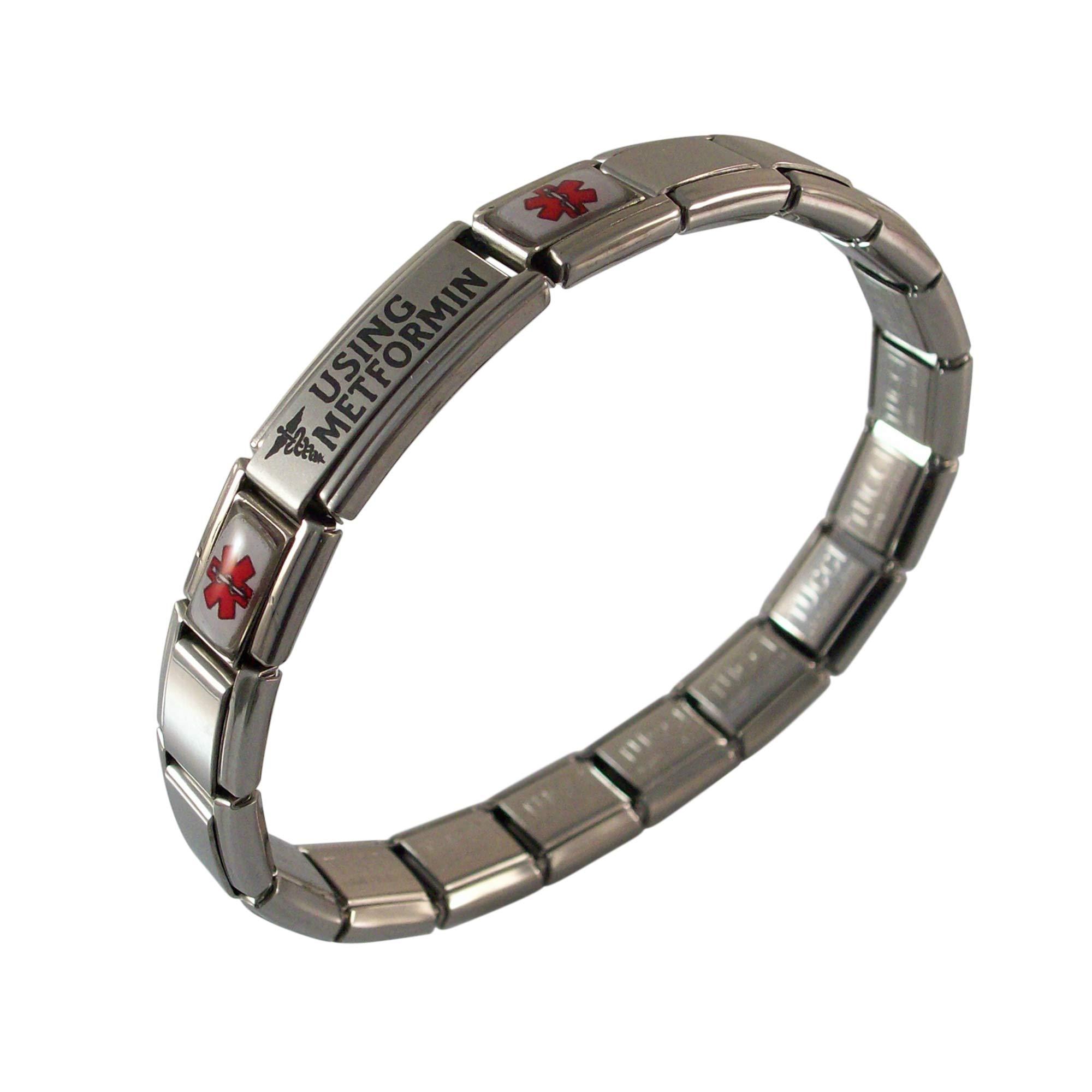 Gadow Jewelry Metformin Medical Alert Italian Charm Bracelet