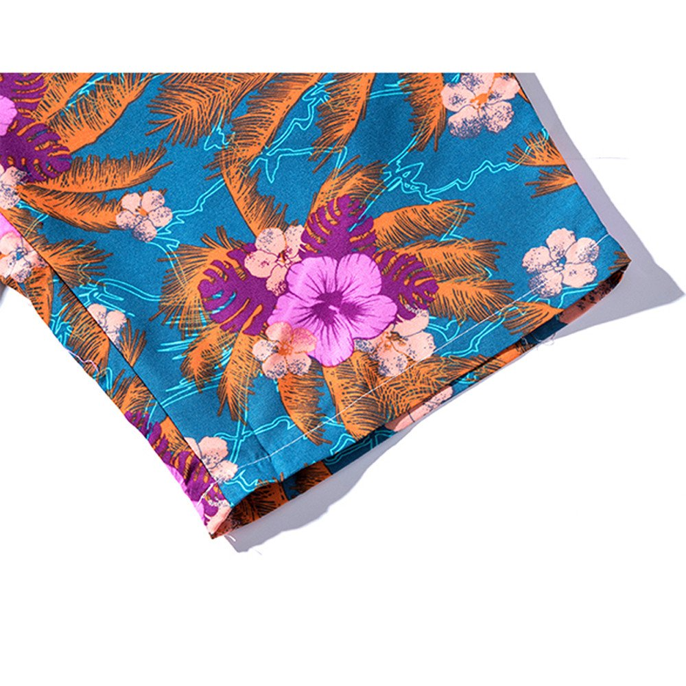 Eolgo Summer Swimwear for Men Couples Vintage Retro Floral Beach Shorts Plus Size Sports Casual Trunks Cotton Soft Pants