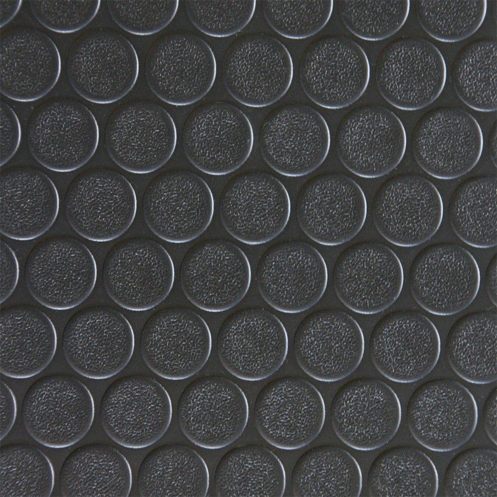 Rubber Cal Coin-Grip Flooring and Rolling Mat, Black, 2mm x 4 x 12-Feet