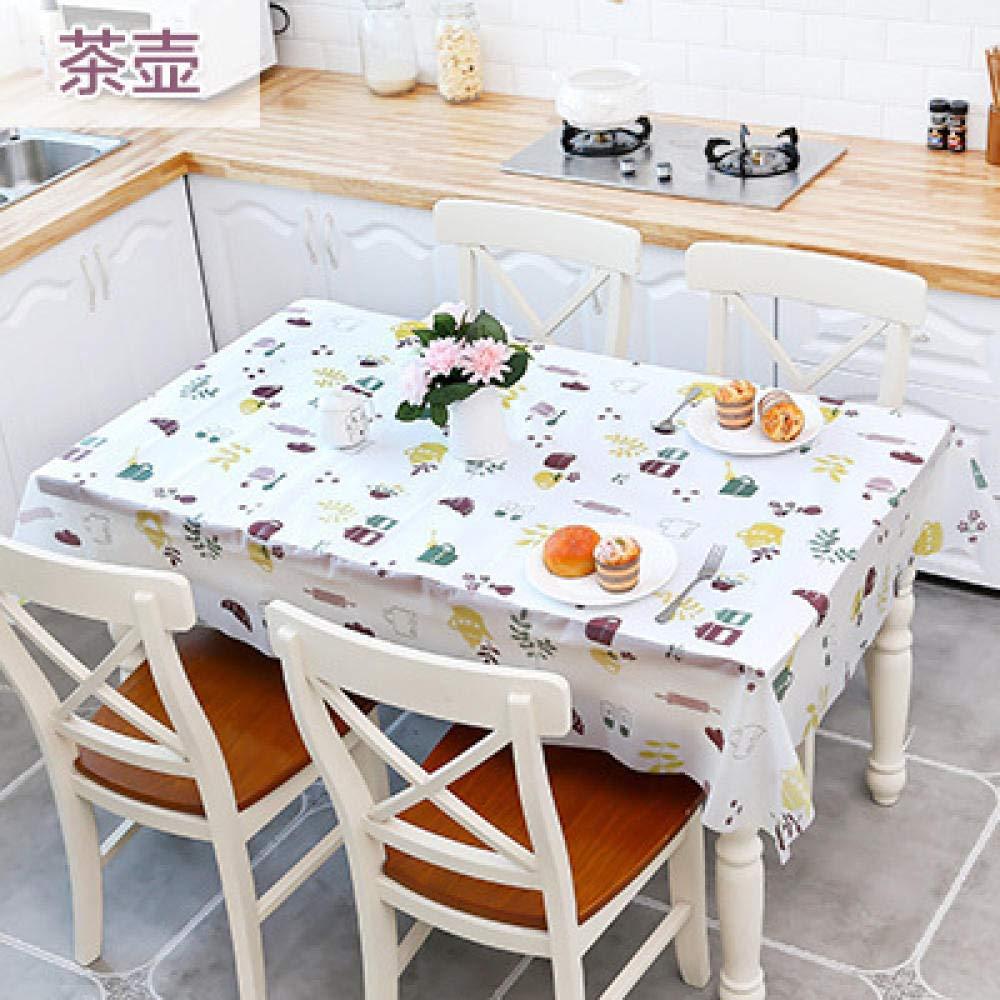 WJJYTX Wachstuch tischdecke, Abwischbare Tischdecke Rechteckige wasserdichte Tischdecke aus Vinyl-PVC für die Gartenküche Außen- oder Innen-Couchtisch Tischset Teekanne @ 130 * 180cm