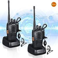 Talkie Walkie Rechargeable sur Batterie Émetteur-récepteur FM VHF / UHF 400-470MHz Rechargeable Walkie-talkie lampe de poche 5W 16Ch avec casque Radio bidirectionnelle pour Baofeng BF-888S(2 pack)