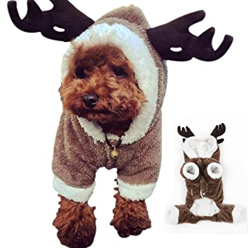 Novelty Elk Design Pet Dog Christmas Costume Autumn And Winter Dog Clothes Cute Puppy Chihuahua Warm Coat Clothing Jumpsuit Pet Products