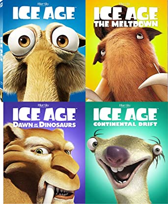 Amazon Com Ice Age Complete 4 Movie Collection Blu Ray With Face Covers The Meltdown Continental Drift Dawn Of The Dinosaurs Cartoon Set Denis Leary John Leguizamo Ray Romano Goran