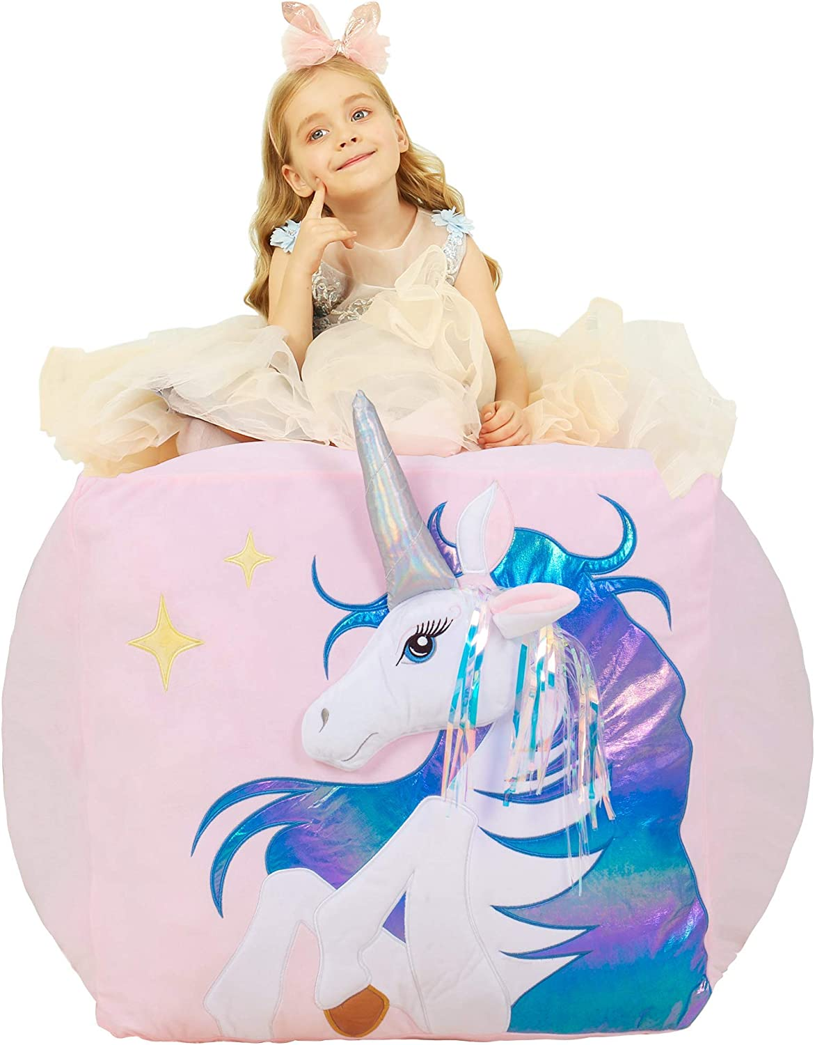 "Anzitinlan Unicorn Stuffed Animal Storage Bean Bag Chair, Kids Bean Bag Chair Girls, Baby Fleece Fabric Super Soft, Covers Only, 22""x24"" Colorful Horse"