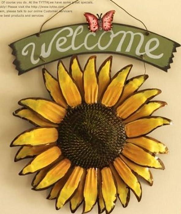 Bonlting 12x15 Vintage Hanging Butterfly Sunflower Welcome Sign Sunflower Decor for Door Hanging Home Decor