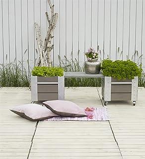 PLUS 2 X Rollbare Blumenkästen Mit Integrierter Sitzbank 2x46x50x45 + 60 Cm  Bank Kdi, Grundiert