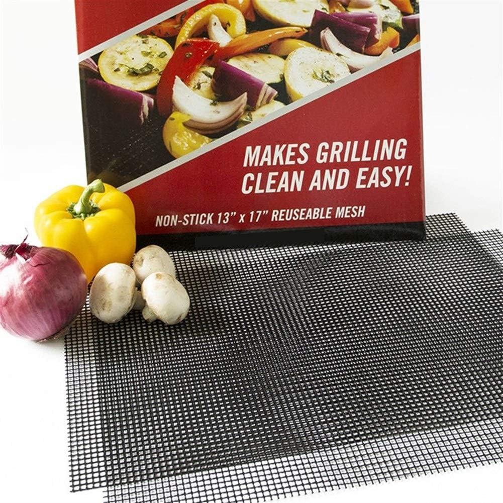 Llan Antihaft-Barbecue Netzmatte Wiederverwendbare Wärmebeständigkeit BBQ Back Net Pad Teflon Grilling Blatt 40 * 33cm Grill Liner (Color : Black 5PC) Black 1pc