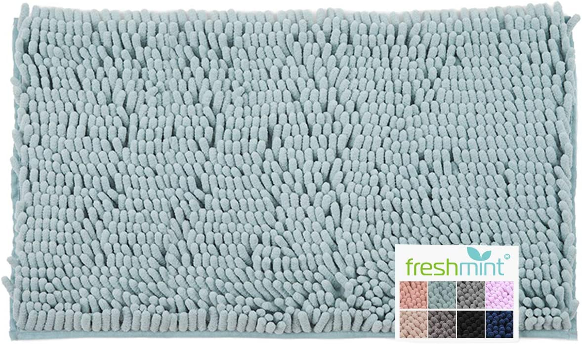 "FRESHMINT Chenille Bath Rugs Extra Soft and Absorbent Microfiber Shag Rug, Non-Slip Runner Carpet for Tub Bathroom Shower Mat, Machine-Washable Durable Thick Area Rugs (20"" x 32"", Blue)"