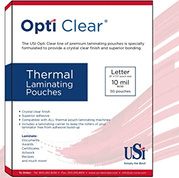 Amazon Com Usi Opti Clear Premium Thermal Laminating Pouches Letter Size 10 Mil 9 X 11 5 Inches 50 Pack Office Products