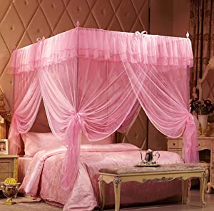 Mengersi 4 Corners Post Canopy Bed Curtain for Girls Boys Adults Gift (Twin, Pink)