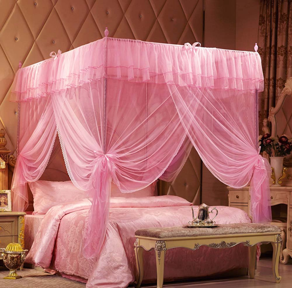 NATURETY Pink 4 Corners Princess Bedding Curtain Canopy Mosquito Netting Canopies (Queen)